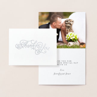 Obrigado elegante do casamento do roteiro da folha cartão metalizado