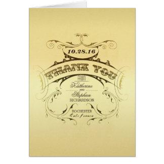 Obrigado elegante do casamento vintage você cartõe cartão de nota
