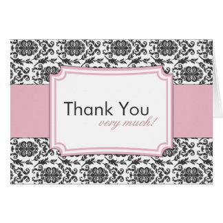 Obrigado elegante do damasco você cartões