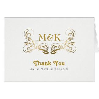 Obrigado elegante do quadro do redemoinho do ouro cartão comemorativo