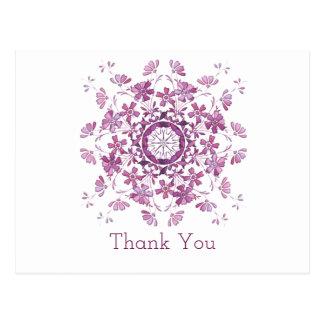 Obrigado. Elemento roxo floral Cartão Postal