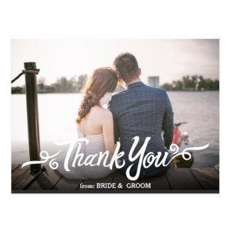 Obrigado escrito à mão do casamento você cartão