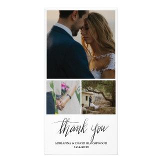 Obrigado escrito à mão lunático você casamento cartão