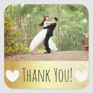 Obrigado etiqueta com sua foto do casamento adesivo quadrado