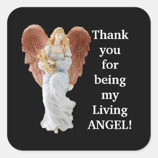 Obrigado etiqueta da apreciação do anjo adesivo quadrado