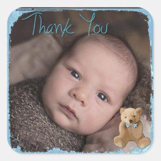 Obrigado etiqueta da foto do bebê adesivo quadrado
