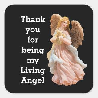 Obrigado etiqueta de vida do anjo adesivo quadrado