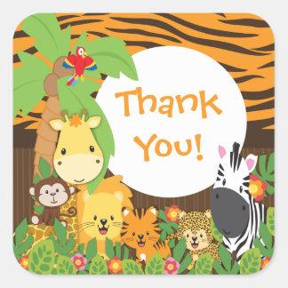 Obrigado etiqueta dos animais do bebê do safari de adesivo em forma quadrada