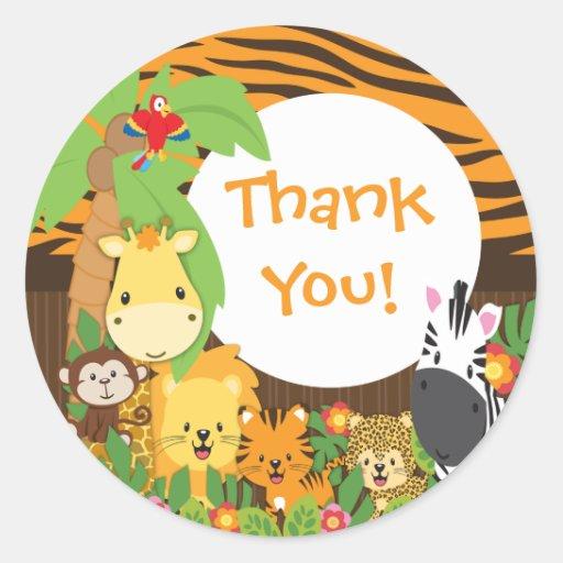 Obrigado etiqueta dos animais do bebê do safari de adesivo redondo