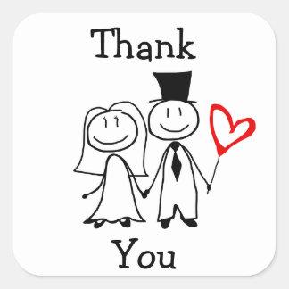 """""""Obrigado"""" etiqueta para o obrigado Wedding você Adesivo Quadrado"""