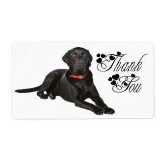 Obrigado etiqueta preta do cão de labrador