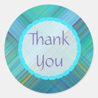 Obrigado etiquetas abstratas do azul