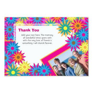 Obrigado feliz de flower power do Hippie você Convite 8.89 X 12.7cm