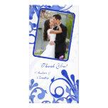 Obrigado floral azul & branco do casamento você ca cartão com fotos personalizado