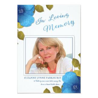 Obrigado floral azul você cartão com fotos do