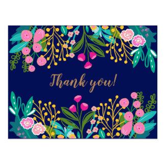 Obrigado floral brilhante chique você cartão