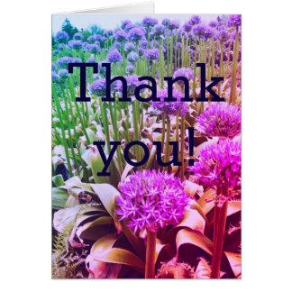 obrigado floral brilhante você cartões