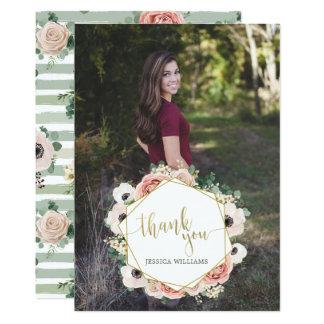 Obrigado floral chique da graduação você cartões