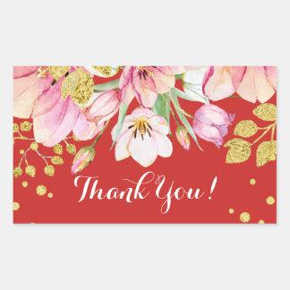 obrigado floral cor-de-rosa você etiquetas