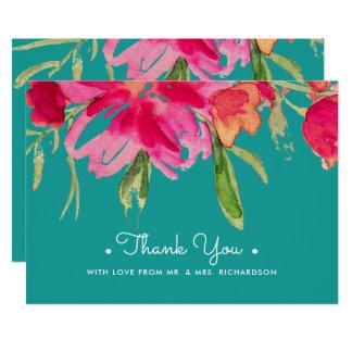 Obrigado floral da aguarela você cartões lisos