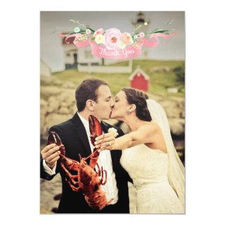 Obrigado floral da foto do casamento da aguarela convite 12.7 x 17.78cm