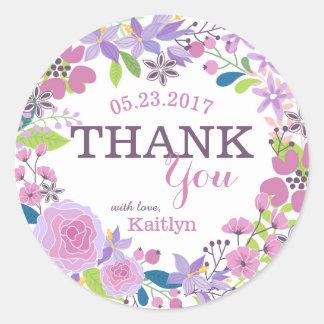Obrigado floral da grinalda da lavanda você adesivo