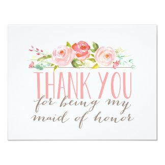 Obrigado floral da madrinha de casamento você convite 10.79 x 13.97cm
