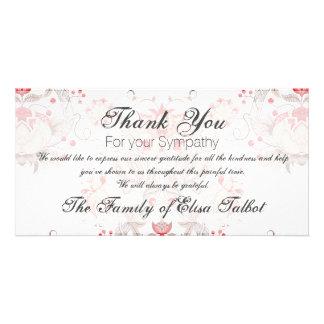 Obrigado floral da simpatia do damasco do teste cartão com foto