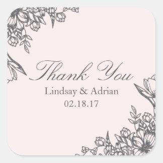 Obrigado floral do casamento da elegância você adesivo quadrado