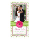 Obrigado floral do casamento da fita do verde cor- cartoes com fotos personalizados