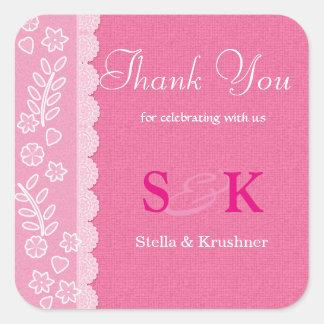 Obrigado floral do casamento do laço você adesivo quadrado