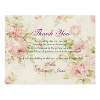 obrigado floral do casamento vintage do rosa cartão postal