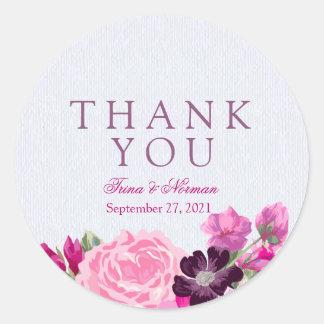 Obrigado floral do fúcsia e da ameixa você adesivo