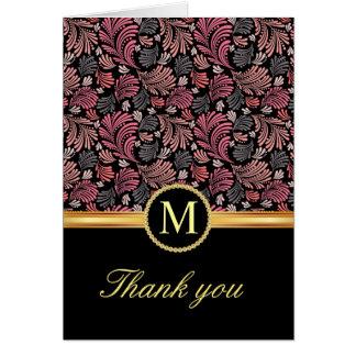 Obrigado floral do monograma do vintage você cartõ cartão de nota