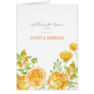 Obrigado floral do respingo do verão você cartões