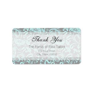 Obrigado floral do teste padrão das cinzas azuis etiqueta de endereço