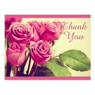 Obrigado floral do vintage você flor cor-de-rosa cartão postal