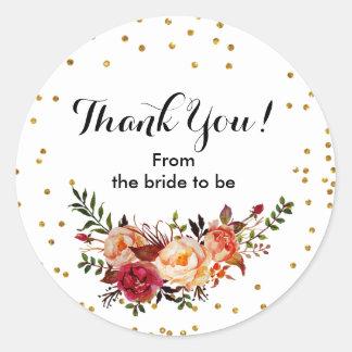 Obrigado floral dos confetes do outono você adesivo redondo