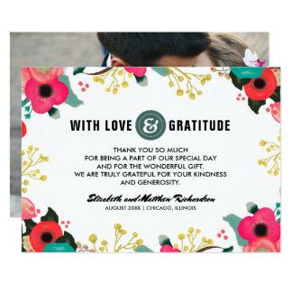Obrigado floral moderno do casamento você cartões