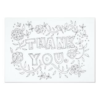 Obrigado floral tirado mão você cartão da convite 12.7 x 17.78cm