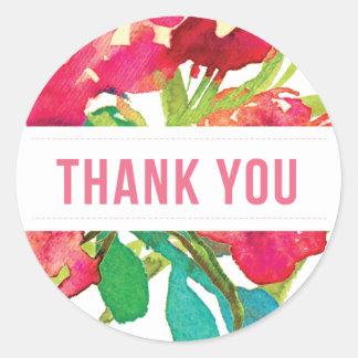 Obrigado floral tropical redondo você etiqueta