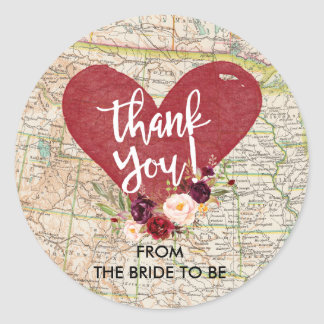 Obrigado floral vermelho do mapa de Marsala do Adesivo Redondo