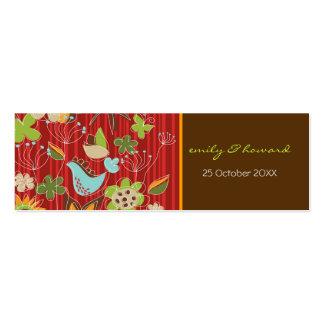 Obrigado floral vermelho do perfil do jardim Tag v Cartoes De Visitas