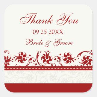 Obrigado floral vermelho e de creme você Tag do Adesivo Quadrado