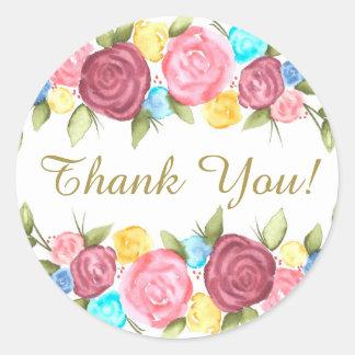 Obrigado floral você adesivo