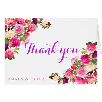 Obrigado florido bonito você cartões
