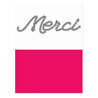 Obrigado francês da palavra de Merci você Cartão Postal