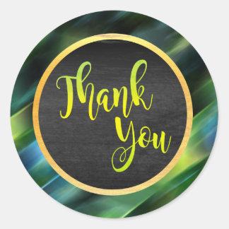 Obrigado fulgor do casamento do brilho do verde do adesivo redondo