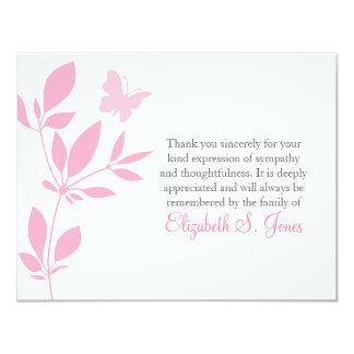 Obrigado fúnebre da borboleta você rosa do cartão