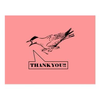 Obrigado gritando do pássaro você cartão cartão postal